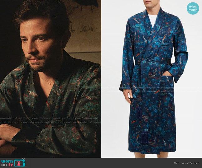 Tasseled Belt Robe by Derek Rose worn by Sam Flores (Rafael de la Fuente) on Dynasty