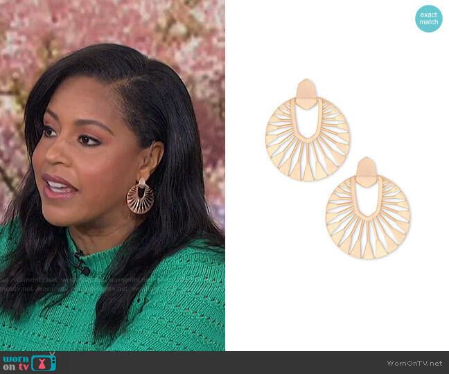 Didi Sunburst Earrings by Kendra Scott worn by Sheinelle Jones  on Today