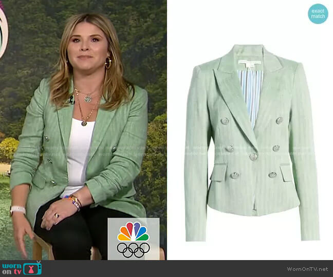 Diego Linen Blend Dickey Jacket by Veronica Beard worn by Jenna Bush Hager  on Today