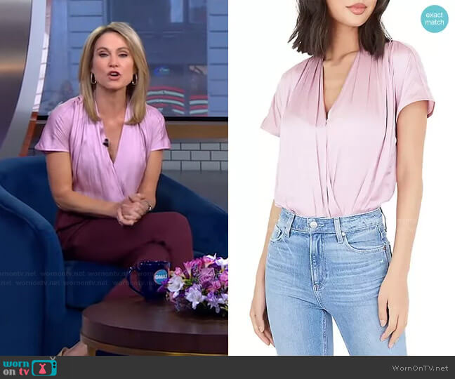 Dijon Bodysuit in Fragrant Lilac by Paige worn by Amy Robach  on Good Morning America