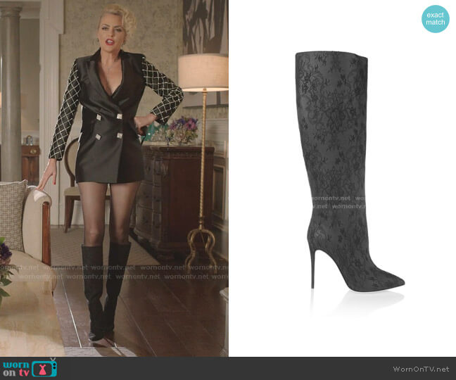 Kate Lace and Leather Knee Boots by Dolce & Gabbana worn by Alexis Carrington (Elaine Hendrix) on Dynasty
