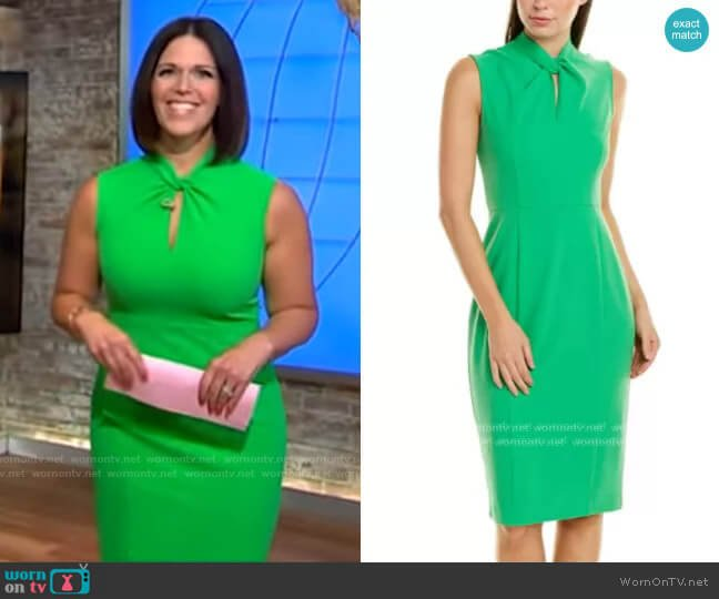 Donna Morgan Twisted Neckline Crepe Sheath Dress worn by Dana Jacobson  on CBS Mornings