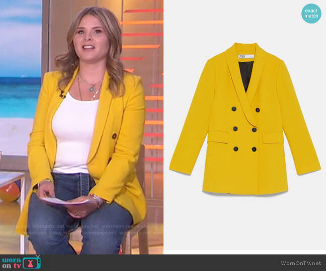 Double Breasted Buttoned Blazer on Zara worn by Jenna Bush Hager  on Today