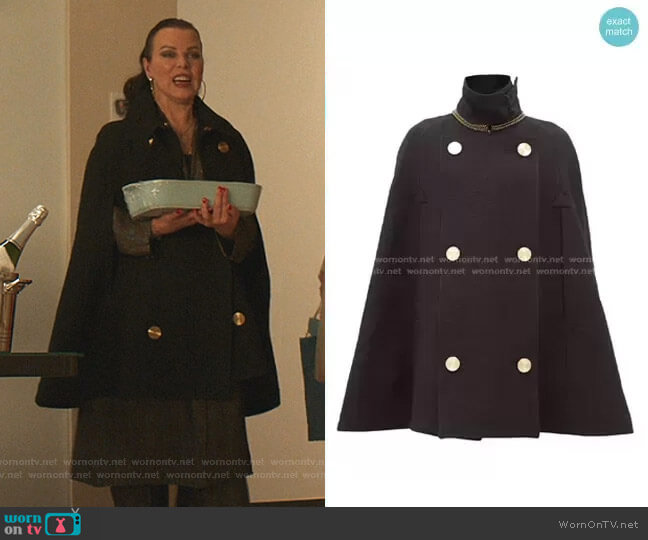 Double-Breasted Wool Cape by Loewe worn by Maggie (Debi Mazar) on Younger