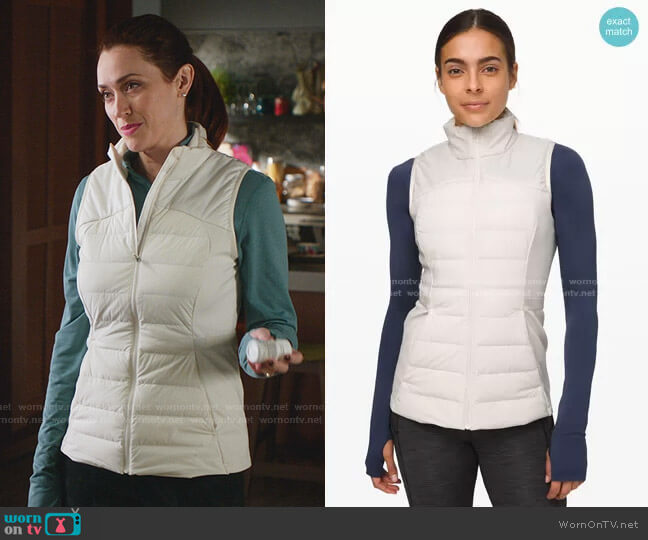 Down for It All Vest in Light Ivory by Lululemon worn by Abigail Pershing (Sarah Power) on Good Witch