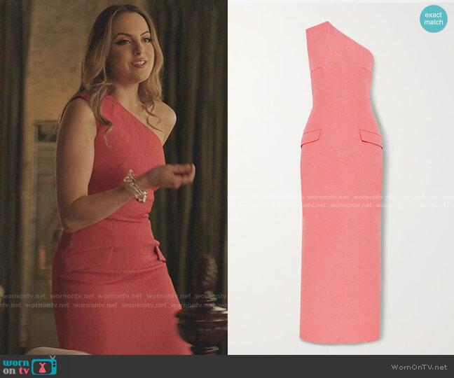Milena One-Shoulder Dress by Emilia Wickstead worn by Fallon Carrington (Elizabeth Gillies) on Dynasty