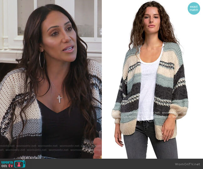 Fuzzy Stripe Chunky Knit Oversized Cardigan Sweater by Elan worn by Melissa Gorga  on The Real Housewives of New Jersey