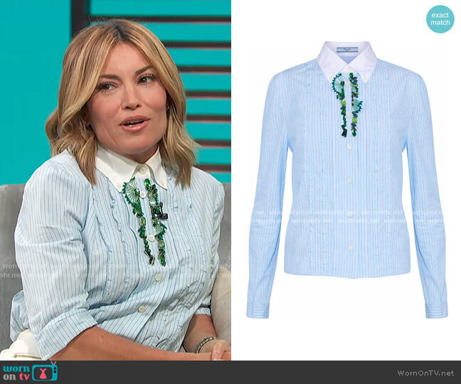 Embellished Striped Shirt by Prada worn by Kit Hoover  on Access Hollywood
