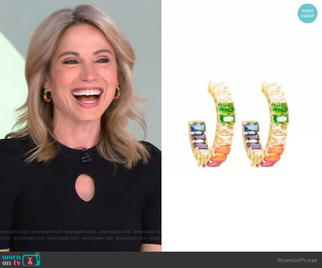 Emerald Rainbow Hoops by Ragen worn by Amy Robach  on Good Morning America