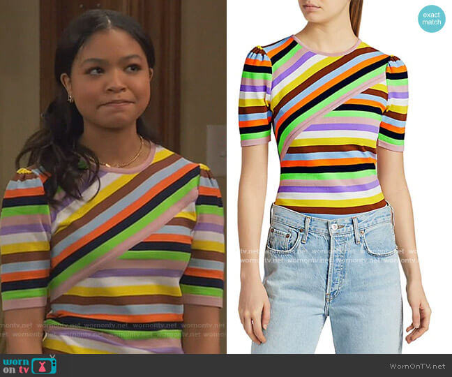 Mixed Stripe Knit Top by Essentiel Antwerp worn by Nia Baxter (Navia Robinson) on Ravens Home
