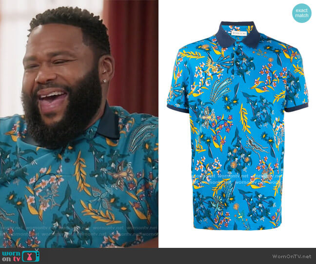 Floral Print Polo Shirt by Etro worn by Andre Johnson (Anthony Anderson) on Blackish