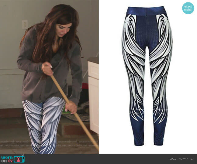 Wing Printed Yoga Skinny Workout Leggings by Firero at Amazon worn by Teresa Giudice  on The Real Housewives of New Jersey