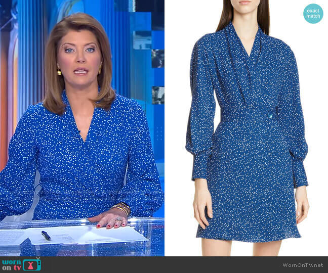 Fanetta Dress by Equipment worn by Norah O'Donnell  on CBS Evening News