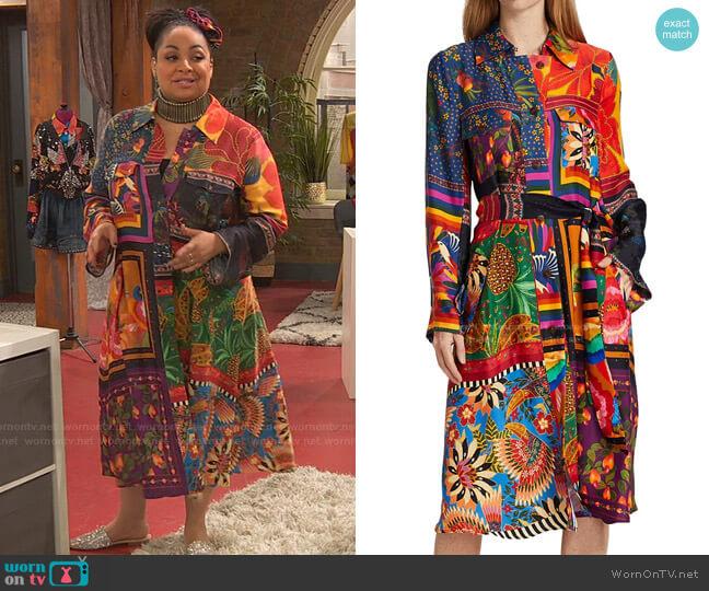 Mixed Scarves Shirtdress by Farm Rio worn by Raven Baxter (Raven-Symoné) on Ravens Home