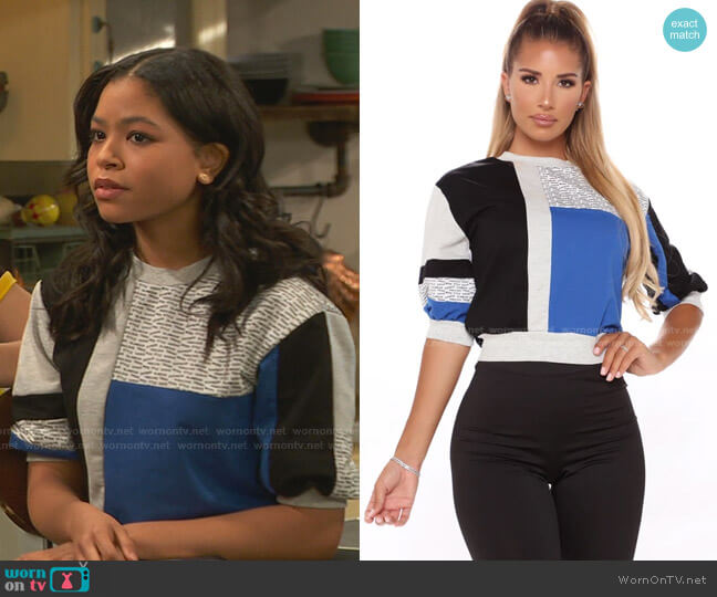 This Is Fashion Color Block Cropped Top by Fashion Nova worn by Nia Baxter (Navia Robinson) on Ravens Home