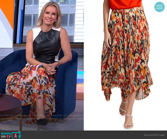 Floral Pleated Handkerchief Hem Skirt by Proenza Schouler worn by Dr. Jennifer Ashton  on Good Morning America