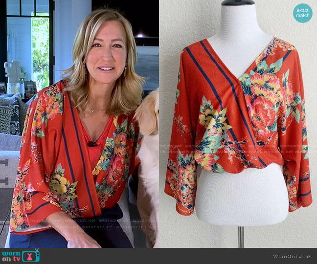 Floral Wrap Crop Top by Flying Tomato worn by Lara Spencer  on Good Morning America