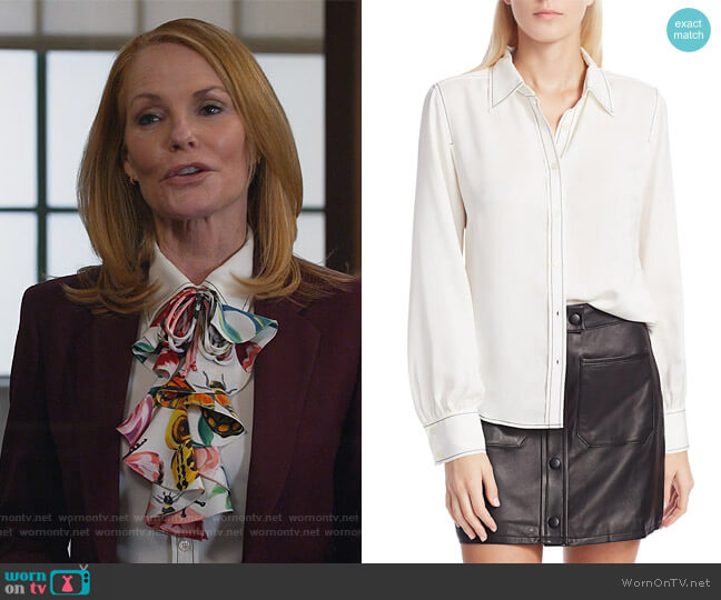 70s Contrast Stitch Puff-Sleeve Silk Shirt by Frame worn by Lisa Benner (Marg Helgenberger) on All Rise