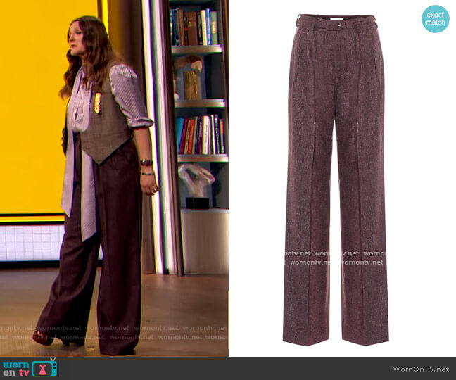 Vargas high-rise straight pants by Gabriela Hearst worn by Drew Barrymore  on The Drew Barrymore Show