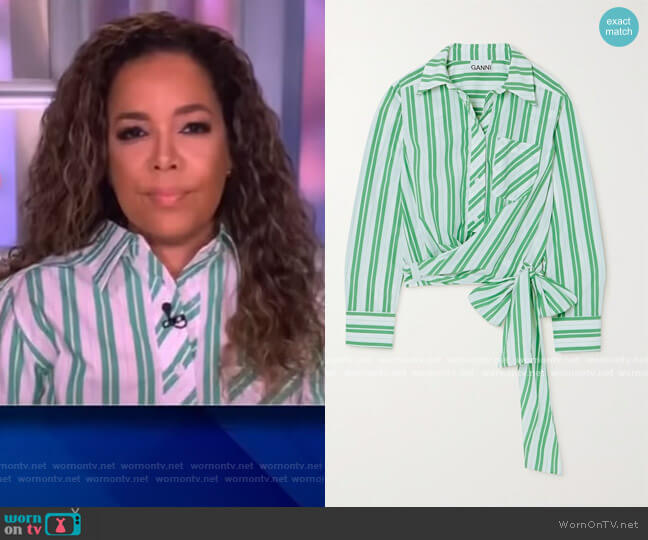 Tie-detailed striped organic cotton-poplin shirt by Ganni worn by Sunny Hostin  on The View