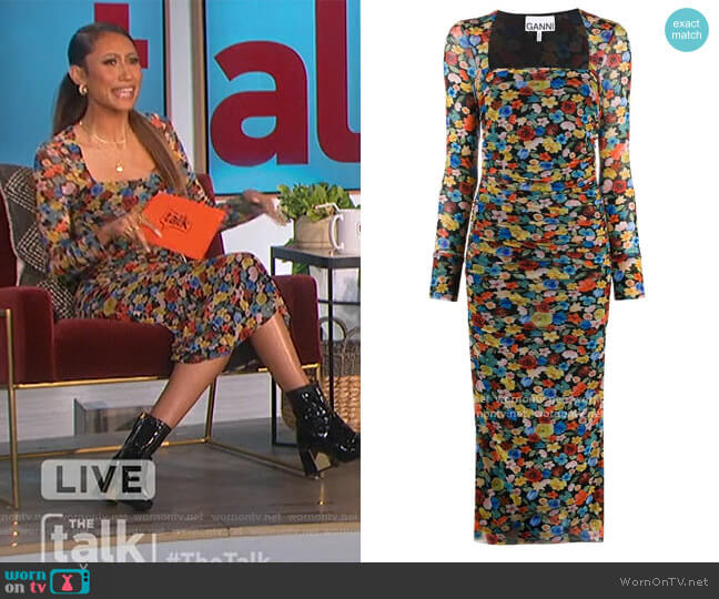 Floral-print ruched midi dress by Ganni worn by Elaine Welteroth  on The Talk