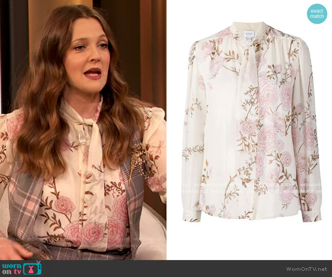 Floral Print Silk Blouse by Giambattista Valli worn by Drew Barrymore  on The Drew Barrymore Show