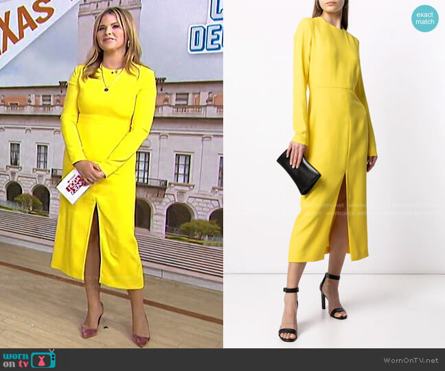 Front-Slit Long-Sleeved Dress by Giambattista Valli worn by Jenna Bush Hager  on Today