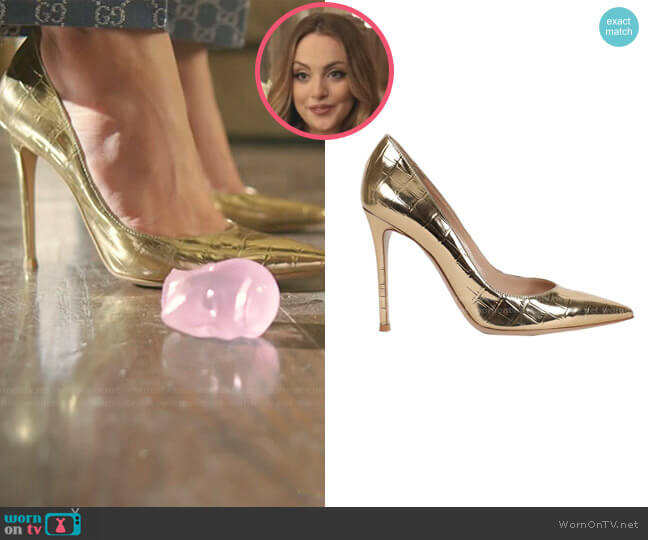 Croc-Embossed Pumps by Gianvito Rossi worn by Fallon Carrington (Elizabeth Gillies) on Dynasty
