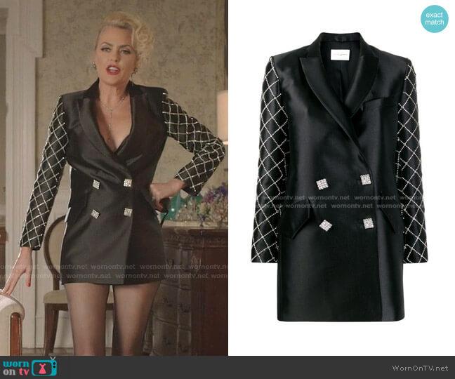 Crystal Embellished Blazer Dress by Giuseppe Di Morabito worn by Alexis Carrington (Elaine Hendrix) on Dynasty