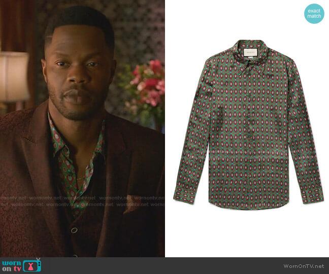 Printed Twill Shirt by Gucci worn by Jeff Colby (Sam Adegoke) on Dynasty
