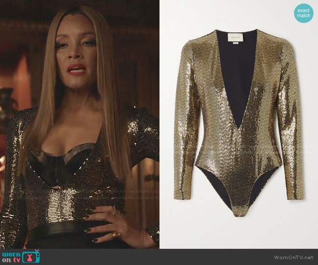 Sequined Tulle Bodysuit by Gucci worn by Dominique Deveraux (Michael Michele) on Dynasty