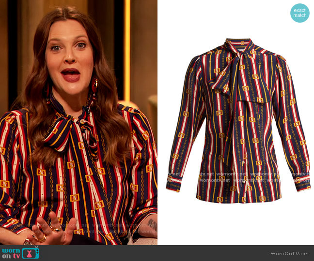 Chain-print silk shirt by Gucci worn by Drew Barrymore  on The Drew Barrymore Show