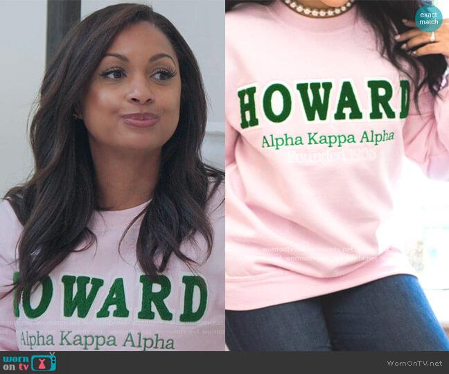 Pink Howard Sweatshirt by Fashionably Greek worn by Eboni K. Williams (Ebony K. Williams) on The Real Housewives of New York City