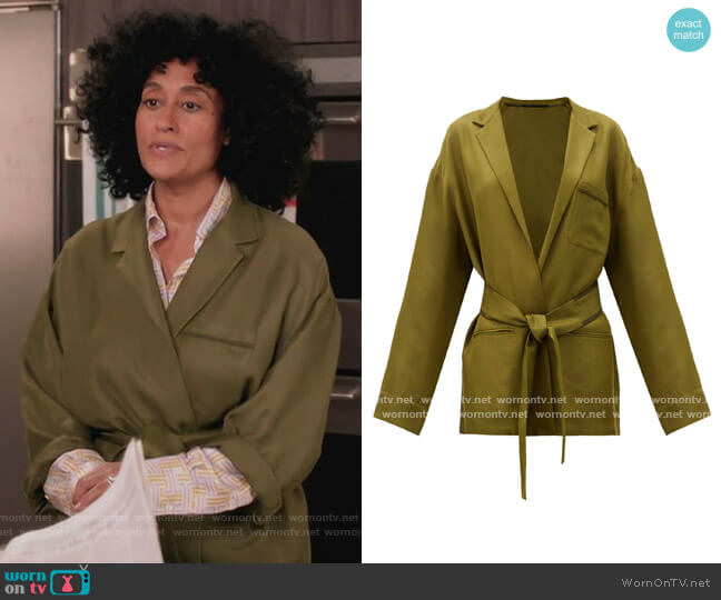 Belted-waist twill jacket by Haider Ackermann worn by Rainbow Johnson (Tracee Ellis Ross) on Blackish