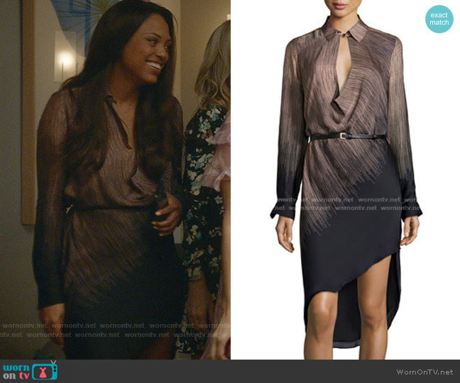 Long-Sleeve Belted Ombre Dress by Halston Heritage worn by Danny James (Jaime Lee Kirchner) on Bull