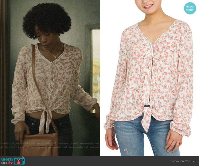 Floral-Print Tie-Front Top by Hippie Rose worn by Grace James (Karimah Westbrook) on All American