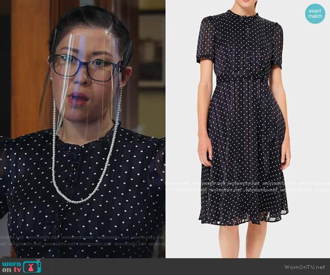 Mae Jacquard Polka Dot Shirt Dress by Hobbs worn by Sherri Kansky (Ruthie Ann Miles) on All Rise