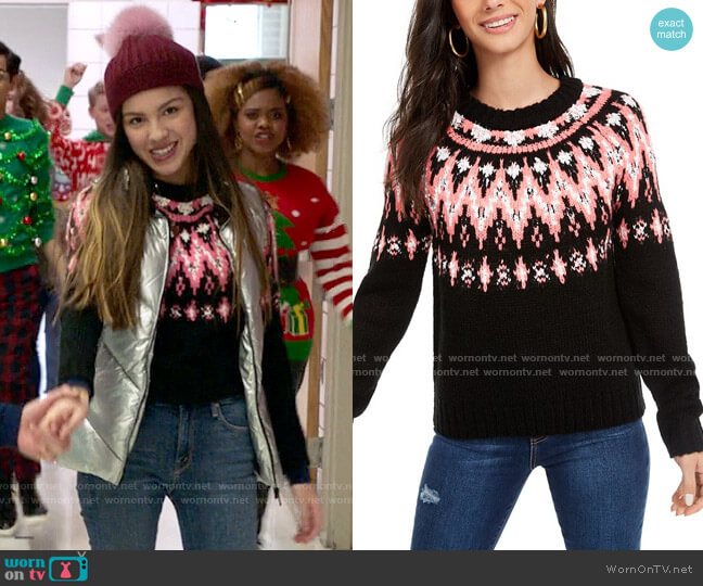 Hooked Up by IOT Fair Isle Crewneck Sweater worn by Nini (Olivia Rodrigo) on High School Musical The Musical The Series