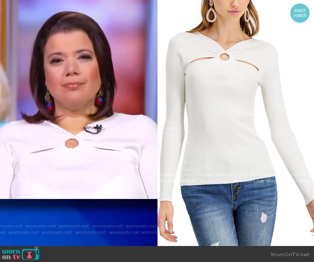 O-Ring Cutout Ribbed Sweater by INC International Concepts worn by Ana Navarro  on The View