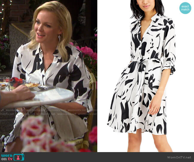 Printed Shirtdress by INC International Concepts worn by Belle Brady (Martha Madison) on Days of our Lives