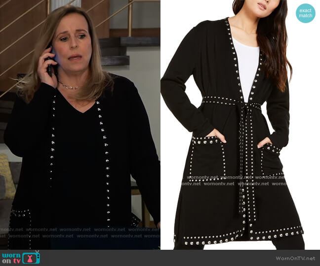 INC Studded Cardigan by INC International Concepts worn by Laura Collins (Genie Francis) on General Hospital