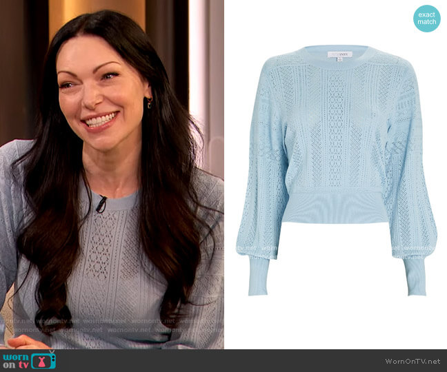 Cyndi Pointelle Sweater by Intermix worn by Laura Prepon on The Drew Barrymore Show