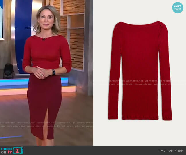 Tubular Wool and Silk Boat-Neck Jumper by Intimissimi worn by Amy Robach  on Good Morning America