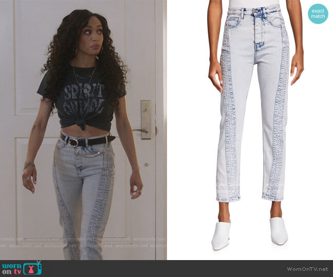 Inahe Moto Cropped Skinny Jeans by Iro worn by Olivia Baker (Samantha Logan) on All American