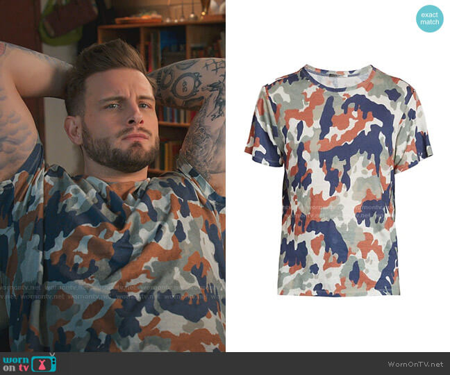 Zafferh Linen T-Shirt by Isabel Marant worn by Nico Tortorella on Younger