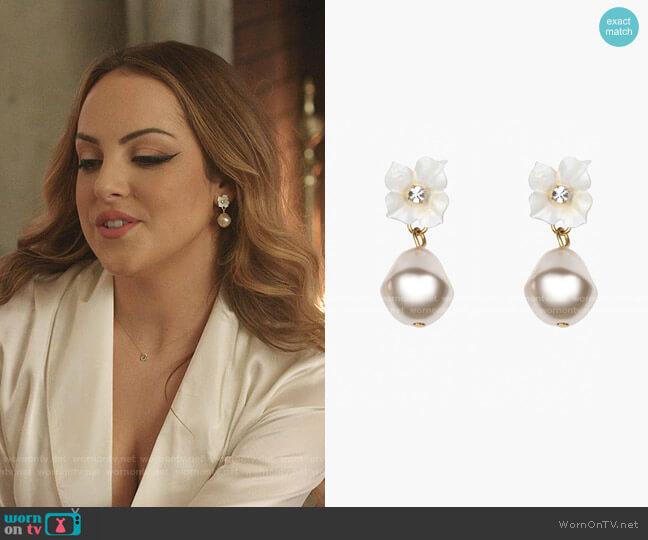 Solddad Pearl Drop Earrings in White Champagne by Jennifer Behr worn by Fallon Carrington (Elizabeth Gillies) on Dynasty