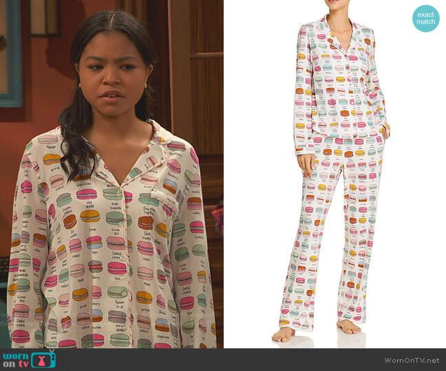 Printed Long Pajama Set by Jane & Bleecker New York worn by Nia Baxter (Navia Robinson) on Ravens Home