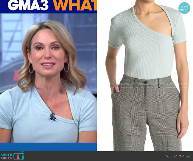 Ribbed Asymmetrical T-Shirt by John Elliott worn by Amy Robach  on Good Morning America