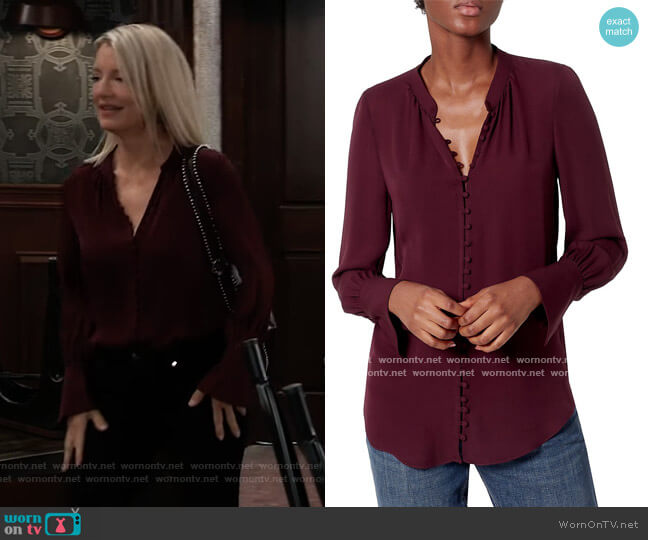 ariana Button-Up Silk Blouse by Joie worn by Nina Reeves (Cynthia Watros) on General Hospital