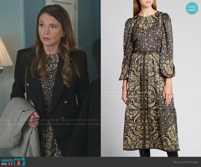 Octavia Paisley Midi Dress by Jonathan Simkhai worn by Liza Miller (Sutton Foster) on Younger